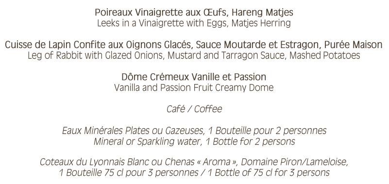 Conference dinner menu
